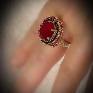 Love & Intuition Ruby Sapphire Sterling Ring 925